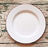 Iwinna British Cuisine Dinner Plate Enamel Enamel Dinner Plate Western Dinner Plate 24CM White Red Edge-White Red edge-24CM