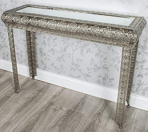 DOWNTON INTERIORS SILVER MOROCCAN EMBOSSED METAL GLASS CONSOLE SIDE HALL TABLE (GZ420)