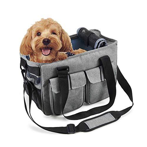 Louvra Hundetasche Hundetragetasche Hunde Transporttasche Handtasche/Umhängetasche Nylon Atmungsaktiv Klappbar mit Fleece-Pad für Welpen Hunde Katze Kleine Tiere (Grau/Blau)