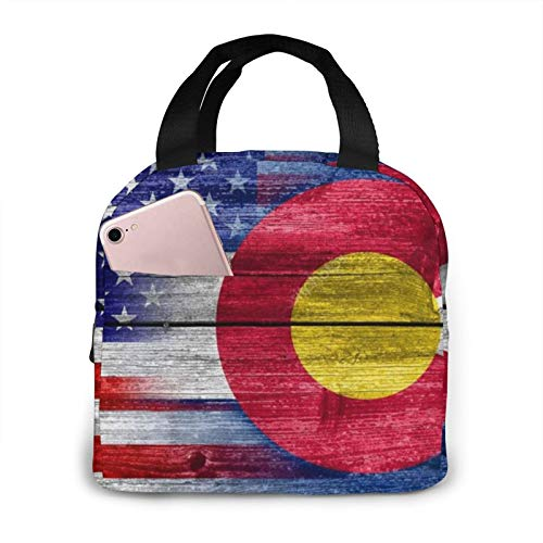 NiYoung Lunchbox Totebox Multi-Purpose Compact Lunch Holder Portable Gourmet Tote Pouch Container Wooden USA American Colorado Flag Grocery Container for Women Men Kids, Work School Picnic