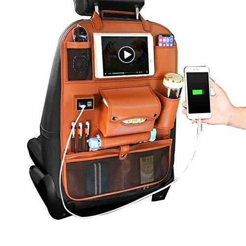 Backseat Car Organizer Protector de respaldo del automóvil con bolsillos de almacenamiento, organizadores de automóviles Organizador de asiento trasero para niños ( Color : Orange , Size : One size )