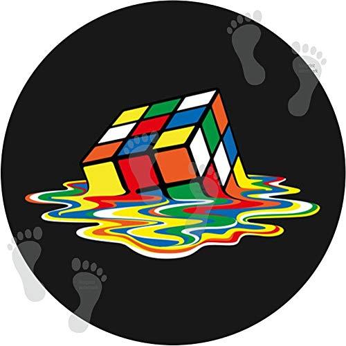 Juego de 2 alfombrillas de baño redondas para decoración de baño, antideslizantes, para suelos de ducha, cocina, tapete para dormitorio, cojín (60 cm), cubo de Rubik