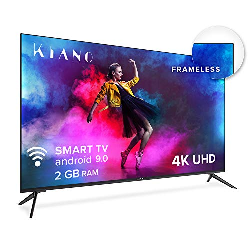 puissant Kiano Elegance TV 50 pouces Android TV 9.0 2 Go de RAM [127 cm Frameless TV] (4K Ultra HD, HDR, Miracast, Smart TV, Netfilx, Ipla, Youtube, Facebook) Triple Tuner, CI +, PVR, Alexa, Classe énergétique A.