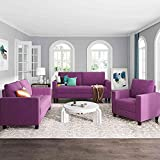 Cotoala Sectional Piece Sofa Set Morden Style Couch Furniture Upholstered Armchair, Loveseat and Three Home or Office (1+2+3-Seat), Purple