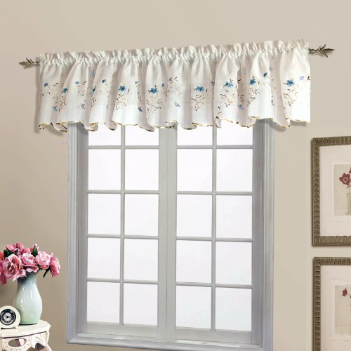 United Curtain Loretta Embroidered Sheer Shaped Valance, 52 by 18-Inch, White/Blue