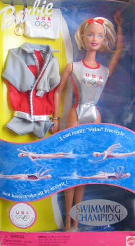 SWIMMING Champion BARBIE Doll REALLY SWIMS! U.S.A Olympics (1999)