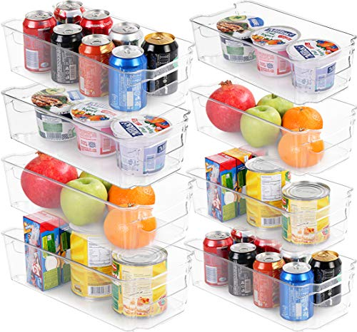 Utopia Home Set of 8 Pantry Organizers-Includes 8 Organizers 4 Large 4 Small Drawers-Organizers for Freezers Kitchen Countertops and Cabinets-BPA Free Clear Plastic Pantry Storage Racks