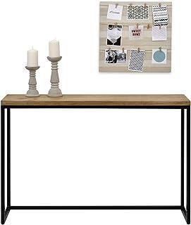 Table d'entree Console iCub Big Wood Industriel Vintage Bois 3cm et métal Noir 120x30cm. 80cm Haute