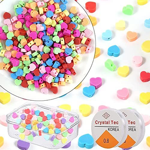 Acmerota 200 cuentas coloridas en forma de corazón cuentas de corazón mezcladas cuentas espaciadoras de arcilla polimérica con 2 cuerdas elásticas para joyería de bricolaje pulsera pendiente