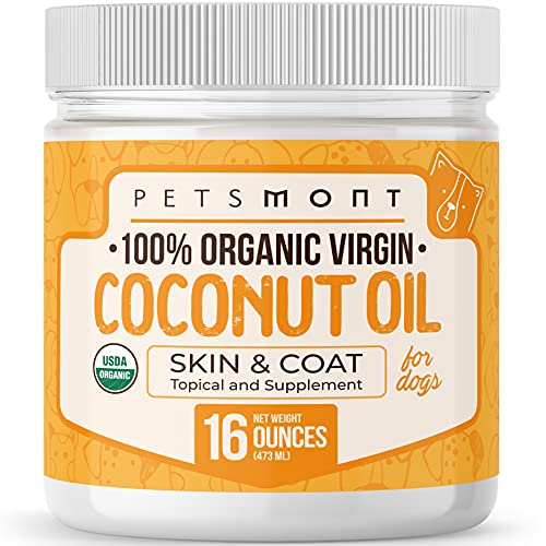Petsmont Organic Coconut Oil for Dogs 16 fl oz - Skin and Coat Virgin Lotion Raw Certified Extra Superfood Supplement Anti Itch Hot Spot Treatment Dry on Elbows Nose Natural Digestive Immune Support