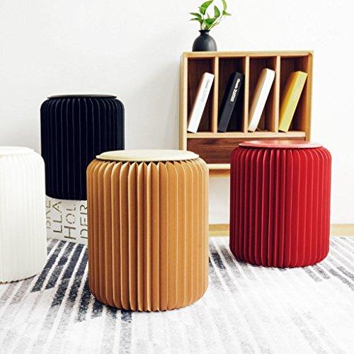 Taburete de papel para silla de oficina, de moda, de comedor, multifuncional, plegable, para sala de estar, diseño creativo, color Taburete individual blanco y alfombrilla de paja.