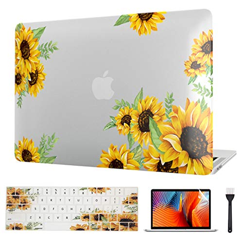 MacBook Pro 13 Inch Case 2020, Sunflower Laptop Hard Case & Keyboard Cover & Screen Protector ONLY for Mac Pro 13 Model (M1 A2338/A2289/A2251) Release 2020 with Touch Bar & Touch ID Version (Flower 1)