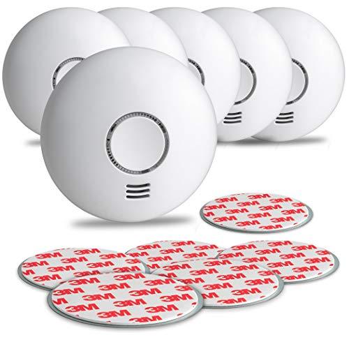 SEBSON Rauchwarnmelder Funk mit Hitzewarnmelder, DIN EN 14604 Zertifiziert, fotoelektrischer Rauchmelder vernetzbar, inkl. Magnetbefestigung, 6er Pack