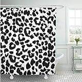 fptcustom Duschvorhang Leopard Tiermuster Design Schnee Jaguar Cheetah Schwarz Abstrakt Weiß Dekorative Badezimmer 180X180 cm Mit 12 Haken