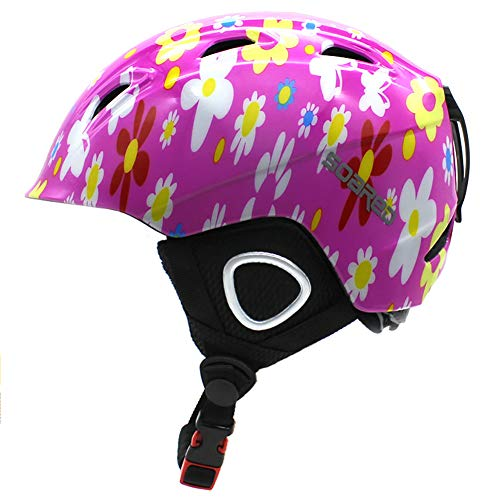 LALEO Farbenfrohe Blumen Skihelm für Kind, Hohe Qualität Atmungsaktiv Einstellbar Ski Snowboard Snowboardhelm Race-Helm, Schwarz, Weiß, Pink,Rosa,S
