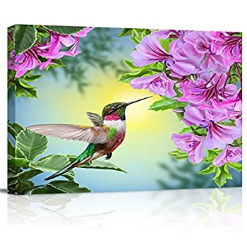 Canvas Wall Art - Hummingbird Purple Azalea Flower - Canvas Art Wall Art Stretched and Framed Ready to Hang - 20x24 inch Printed Paintings Artworks for Home Bathroom Living Room Bedroom Decoration