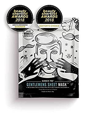 Barber Pro Hydrating and Moisturising Gentleman's Beauty Sheet Face Mask With Collagen (23g) from Beautypro