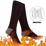 Chaussettes Chauffantes Électriques Rechargeables avec 3 Fichiers de Température Réglable, Hiver Thermiques Chaussettes pour Hommes Femmes, Chauffe-pieds pour Cyclisme Ski Camping Randonnée Chasse