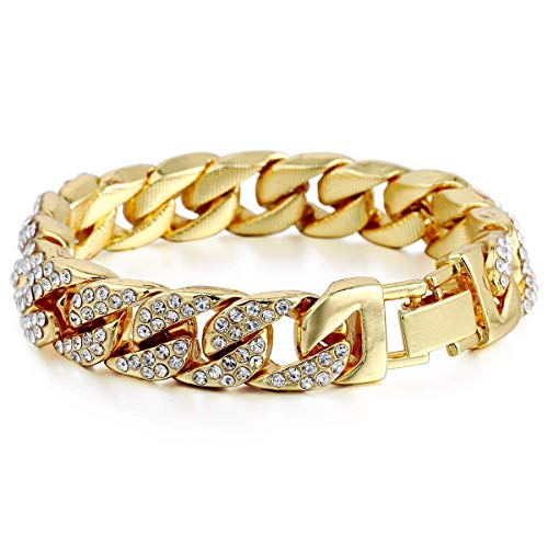 Fliyeong Premium Quality 14mm Mens Women Hip Hop Iced Out Curb Cuban Bracelet Chain Gold Pave