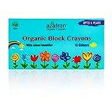 Azafran Organic Block Crayons, Non-Toxic, Vegan & Waterproof,120 gm (16 Colours)