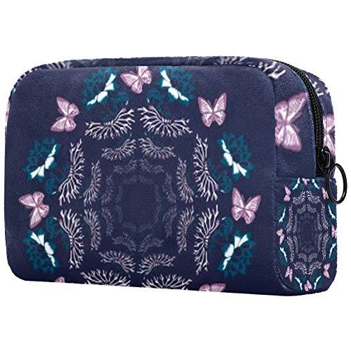 Trousse de toilette portable pour femme avec brosses de maquillage personnalisées - Sac à main - Organisateur de voyage - Papillon tisser danse