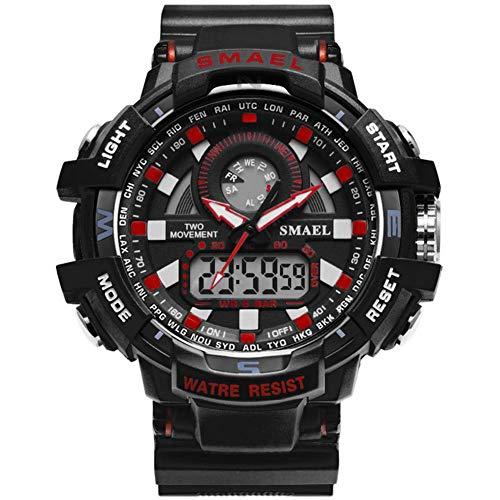 SMAEL Relojes Deportivos para Hombre Resistente Al Agua Digital Militares Relojes con Cuenta Atrás para Los Hombres Niños Grandes LED De Analógico Relojes De Pulsera para Hombre (Azul),Black Red