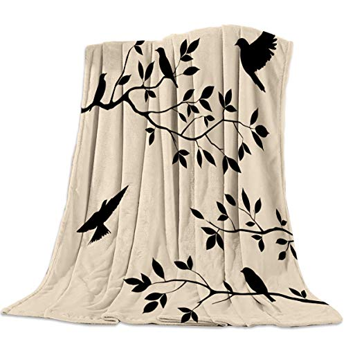 Funy Decor Flannel Fleece Blanket Tree Branches Birds Soft Breathable Lightweight Throw Blankets Bedspread Decorative for Home Sofa Couch All Seasons Use - King 60x80in