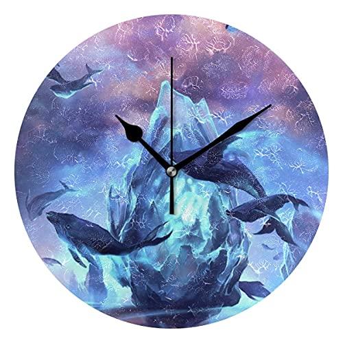Hermoso Reloj de Pared Redondo Decorativo con Textura de Ballena saltadora Novedad artística para niños, Sala de Estar, Dormitorio, Cocina, Escuela, Oficina, decoración