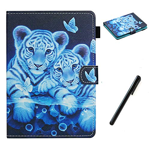 HereMore Universal Case for 8 Inch Tablet with Pen, Leather Stand Cover Protective Shell for Fire HD 8,Huawei MediaPad T3 8,Samsung Galaxy Tab A8, Acer Iconia One 8 B1-870,Lenovo Tab E8, Tiger