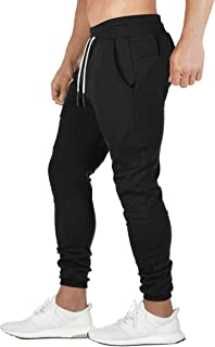 Relaude Fitness Mens Jogger Pants Sports Trousers Sweatpants Tracksuit Causal Slim Fit Bottoms Workout Gym Zipper Pockets