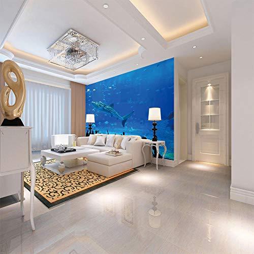 Fotobehang Niet-geweven Blauwe Zee Haai Fotobehang 3D Wandmuurschildering Niet-geweven Moderne Muurposter Beeld Home Decoratie voor Slaapkamer Kantoorkeuken Zwart Vrijdag 350cmx250cm Blauw