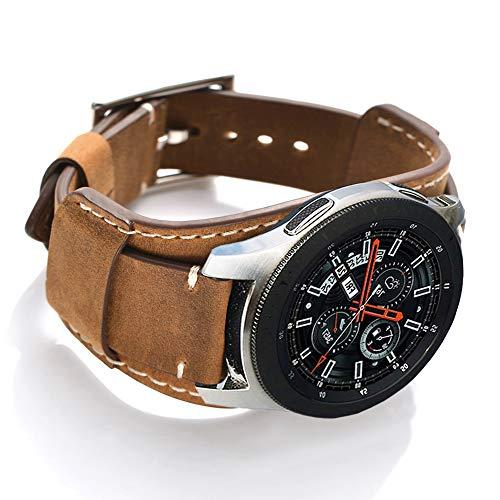 CooBES Kompatibel mit Samsung Galaxy Watch 46mm/Gear S3 Frontier/Classic Armband,22mm Echtes Leder Uhrenarmband Cuff Ersatz Armbänder mit Edelstahlschließe für Männer oder Frauen (22mm, Braun)