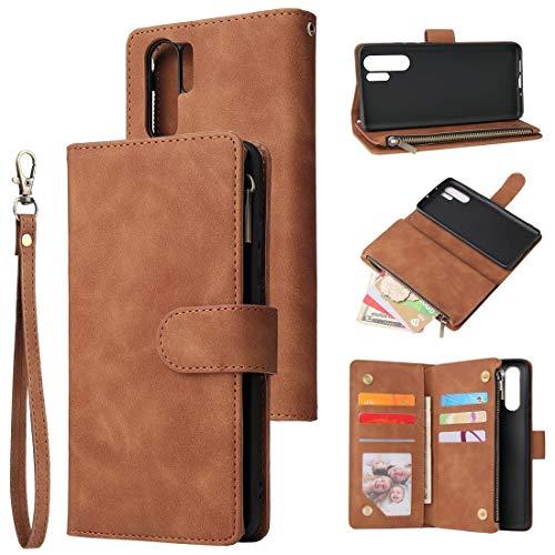 Ysswjzz P30 pro Wallet Case, afneembare PU Leather Cover Case met kaarthouder en ID-Slot, Flip Stand Zipper case Compatibel met Huawei P30 pro Smartphone (Color : Brown)