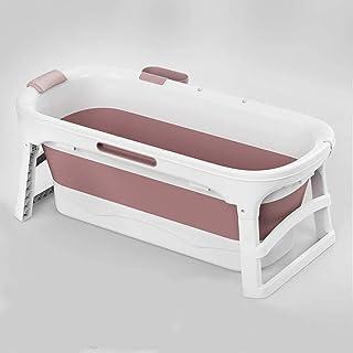 大規模なプラスチック製の折りたたみ風呂大人シャワー用大型プラスチック浴槽大人のためのポータブル浴槽大人折りたたみ (色 : ピンク)