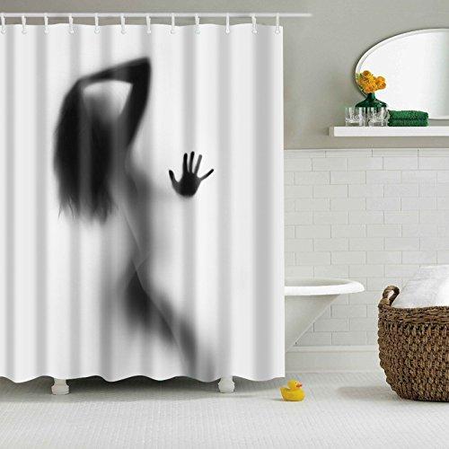 GWELL Top Qualität Anti-Schimmel Duschvorhang Digitaldruck inkl. 12 Duschvorhangringe für Badezimmer Art-F 180x180cm
