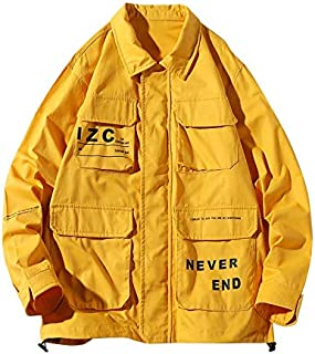 HAWEEL Casual Letters Print Long Sleeve Shirt Jacket for Men Windbreaker Jacket