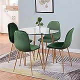 GOLDFAN Mesa de comedor redonda de cristal y 4 sillas, mesa de cocina moderna, patas de metal y sillas de terciopelo suave, juego de comedor