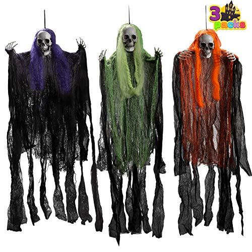 Paquete de 3 La Parca de Halloween 90cm Fantasma de Esqueleto de Halloween, Decoración Colgante de Halloween para Casa Embrujada, para Interiores y Exteriores