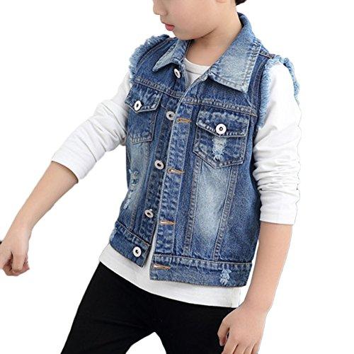LaoZan Kinder Jungen Ärmellose Jeansjacke Jeansweste Denim Slim Fit Outwear Mantel Blau 160CM