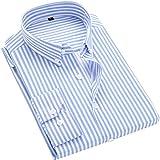 ERZTIAY Men's Classic Casual Vertical Striped Slim Fit Long Sleeve Dress Shirts Light Blue