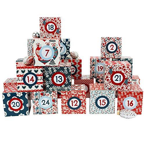 Set de boîtes Calendrier de l'Avent DIY – 24 boîtes colorées à Poser et remplir – 24 boîtes - Hygge