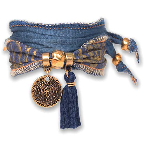 Anisch de la Cara Damen Armband Little Blue Lion - Hakuna Matata Wickelarmband aus Langapalu Stoff Hakuna Matata - ArtNr. 80822-b