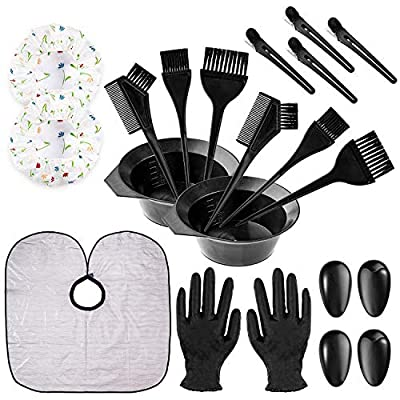 Whaline 21Pcs Hair Dye Coloring Set Hair Tinting Comb Brush Mixing Bowl Hair Clip Ear Cover Hair Coloring Cape Shower Cap Gloves for At-Home Hair Tint Dying Coloring Hairdressing Salon Bleaching