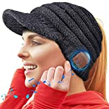 WINONLY Bluetooth Beanie Hat, Upgraded Bluetooth 5.0 Beanie Hat Gift for Women, Wireless Headphone Ponytail Beanie Music Hat (Beanie) Black