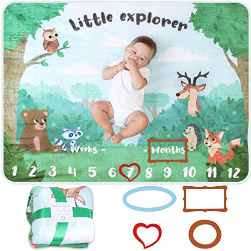 Manta Meses Bebé | Modelo Unisex | Regalo De Fiesta De Nacimiento | Temática De Bosque | Suave y Gruesa | Manta Para Fotos Mensuales | Control De Edad y Crecimiento | Manta Mensual De Hito