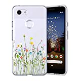 Unov Pixel 3a Case Clear with Design Soft TPU Shock Absorption Slim Embossed Pattern Protective Back Cover for Pixel 3a 5.6 inch (Flower Bouquet)