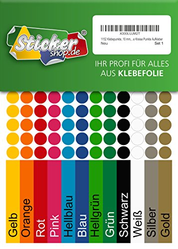 1152 Klebepunkte, 10 mm, je 96 Stück in 12 Farben, aus PVC Folie, wetterfest, Markierungspunkte Kreise Punkte Aufkleber