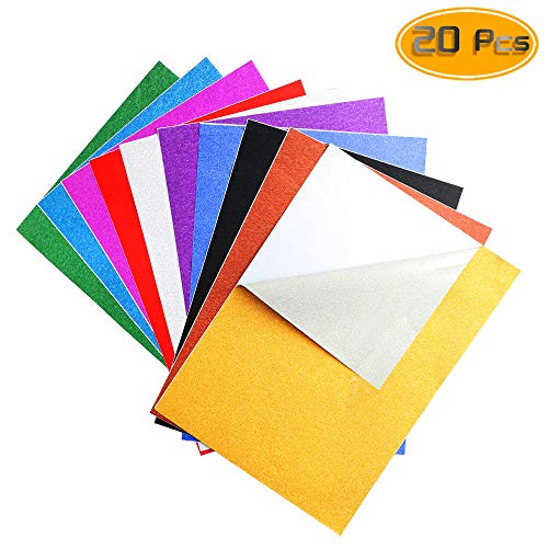 Nexxxi 20 Pack Glitter Paper Sheet Sparkles Self Adhesive Sticky for Children's Craft Activities DIY Cutters Art Assorted Colors(8.27'x11.8')
