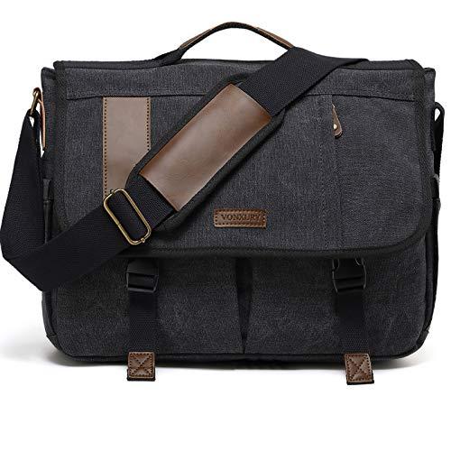 Messenger Bag, 17 In Laptop Bag Vintage Water Resistant Canvas Shoulder Bag Satchel for Men by VONXURY