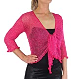 Ladies Crochet Glitter and Plain Stretch Lace Fish Net Bali Tie at Waist Bolero Shrug Open Cardigan (One Size fits UK 8-16, Hot Pink/Silver) by